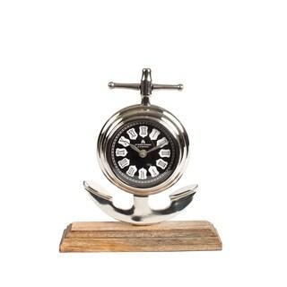 Privilege Brown Wood and Aluminum Clock