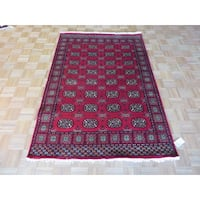 Bokara Oriental Red Wool Hand-knotted Area Rug - 4'6 x 6'8