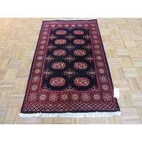 Black Bokara Wool Hand-knotted Oriental Rug - 3' x 5'