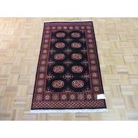 Oriental Black Wool Hand-knotted Bokara Rug - 3' x 5'