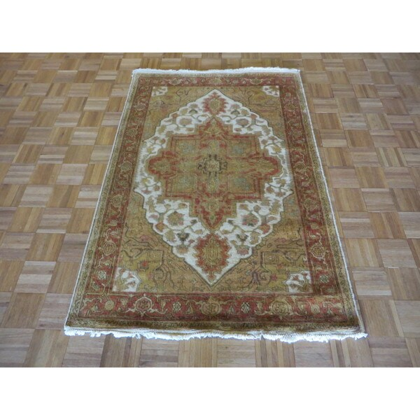 Fine Round Persian Bidjar Area Rug Hand Knotted Wool And: Shop Hand-knotted Ivory Fine Serapi Heriz Wool Oriental