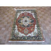 Fine Serapi Heriz Oriental Rust Red Wool Hand-knotted Area Rug - 4' x 5'10