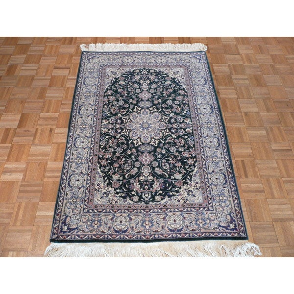 Persian Hand Knotted Nain Wool And Silk Area Rug Ebth: Shop Nain Green Wool And Silk Hand-knotted Oriental Rug