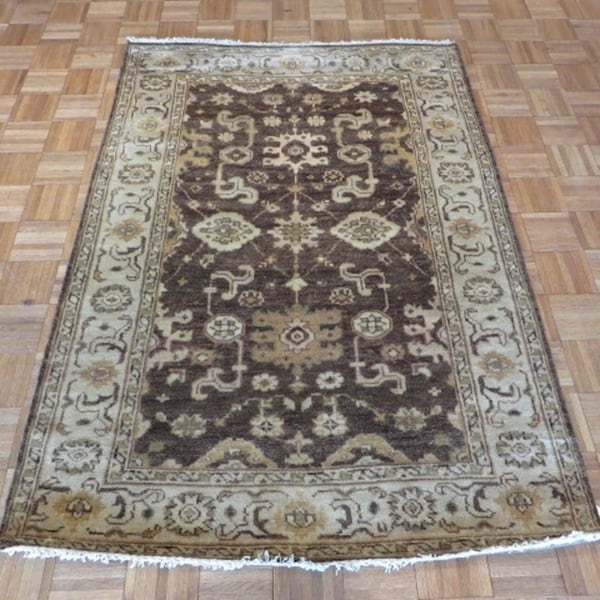 Shop Oushak Floral Tufted Wool Persian Oriental Area Rug: Shop Oushak Oriental Brown Wool Hand-knotted Area Rug