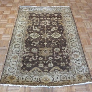 Oushak Oriental Brown Wool Hand-knotted Area Rug (4'4 x 6'2)