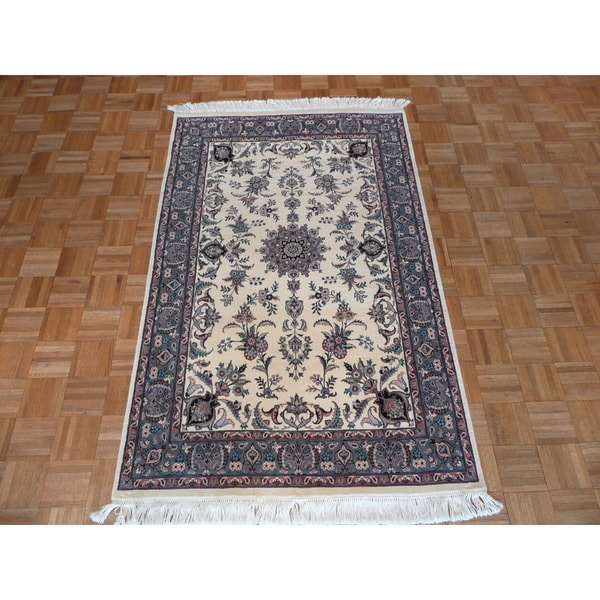 Persian Hand Knotted Kashan Silk And Wool Area Rug Ebth: Shop Fine Kashan Oriental Ivory Wool Hand-knotted Area Rug