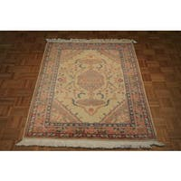 Beige Wool Hand-knotted Oushak Oriental Rug - 4 x 6