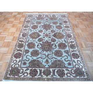 Sky Blue Wool Hand-knotted Agra Oriental Rug (4'1 x 6'2)