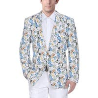 Verno Men's White Cotton Flower-print Classic-fit Blazer