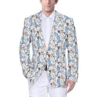 Verno Men's White Cotton Flower-print Classic-fit Blazer (5 options available)