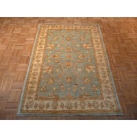 Oriental Light Blue Wool Hand-knotted Oushak Rug - 4'1 x 5'10