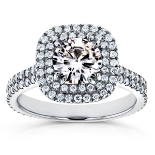 Annello by Kobelli 14k White Gold 1ct Moissanite and 3/4ct TDW Diamond Double Halo Engagement Ring (G-H, I1-I2)