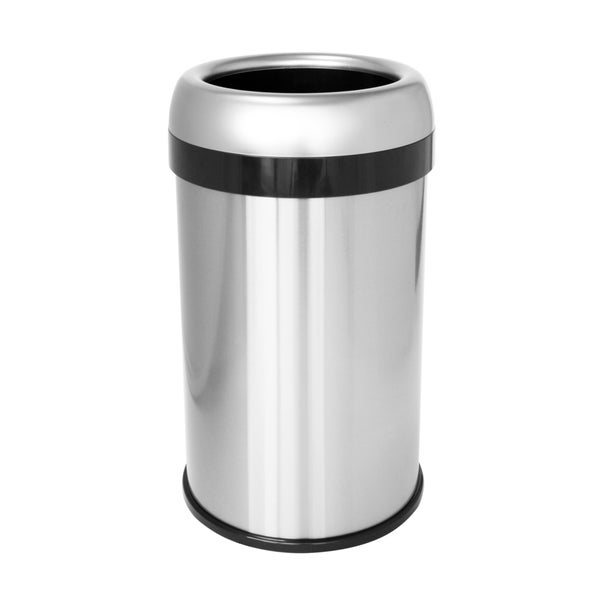 halo stainless steel 16 gallon dual deodorizer round open top trash can free shipping today. Black Bedroom Furniture Sets. Home Design Ideas