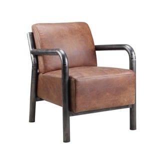 Saint Brown Leather Arm Chair