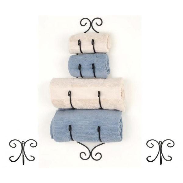 Black Iron Towel Rack with 2 Towel Hooks