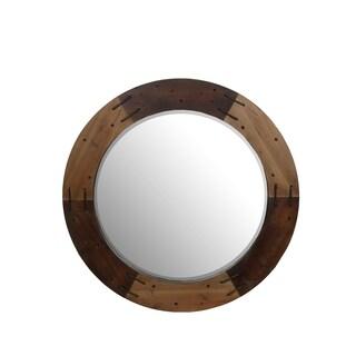 Privilege Brown Wooden Round Mirror