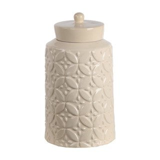 Privilege Cream Ceramic Large Jar With Lid