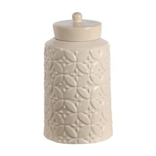 Privilege Cream Ceramic Large Jar With Lid