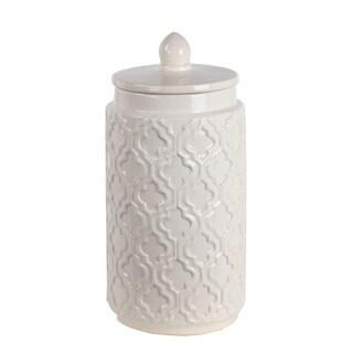 Privilege White Ceramic Large Jar With Lid