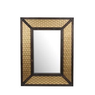 Privilege Brass Finish Wood and Metal Mirror