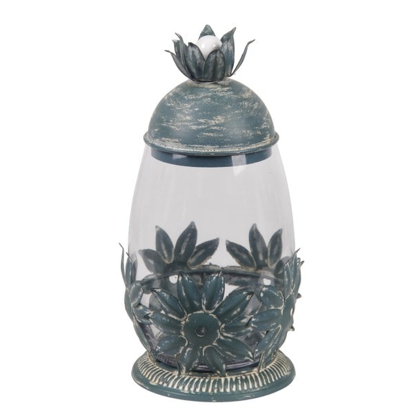 Privilege Green Metal and Glass Small Star Leaf Design Accent Jar