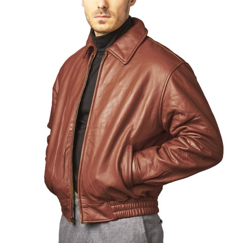 Chestnut Pebble Lamb Leather Bomber Jacket