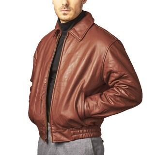 Chestnut Pebble Lamb Leather Bomber Jacket