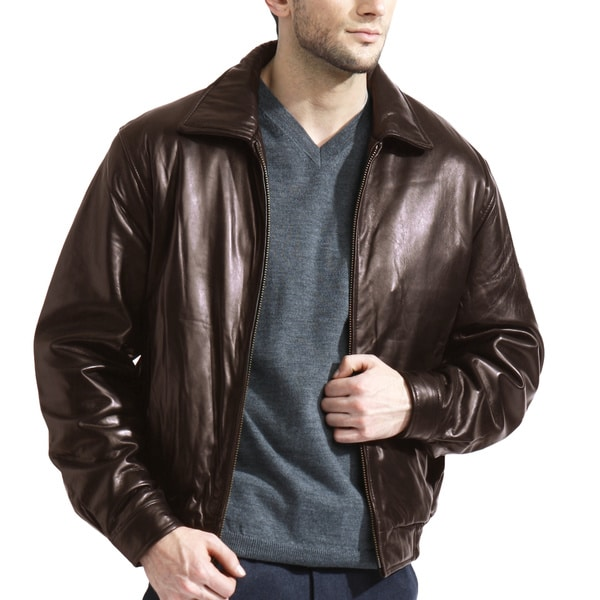 7a24e289f Shop Men's Chocolate Brown Lambskin Leather Bomber Jacket - Free ...
