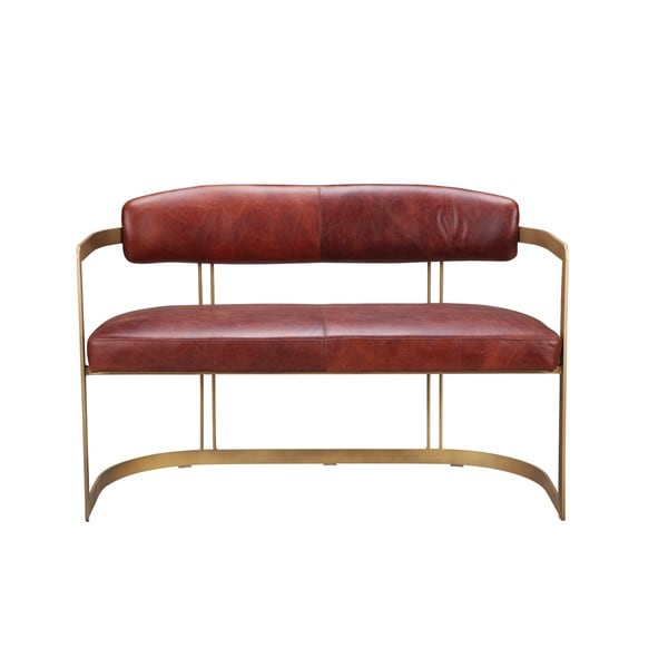 Aurelle Home Dewie Red Leather Bench Free Shipping Today 20140896