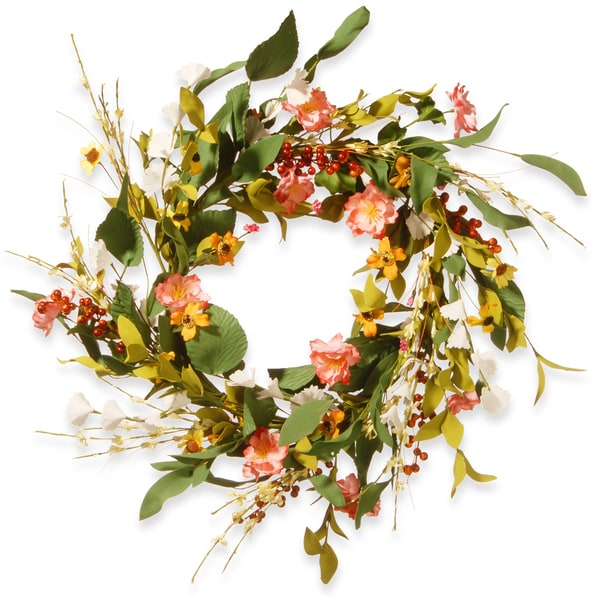 National Tree Company Off-white Fabric 22-inch Spring Flower Wreath. Opens flyout.
