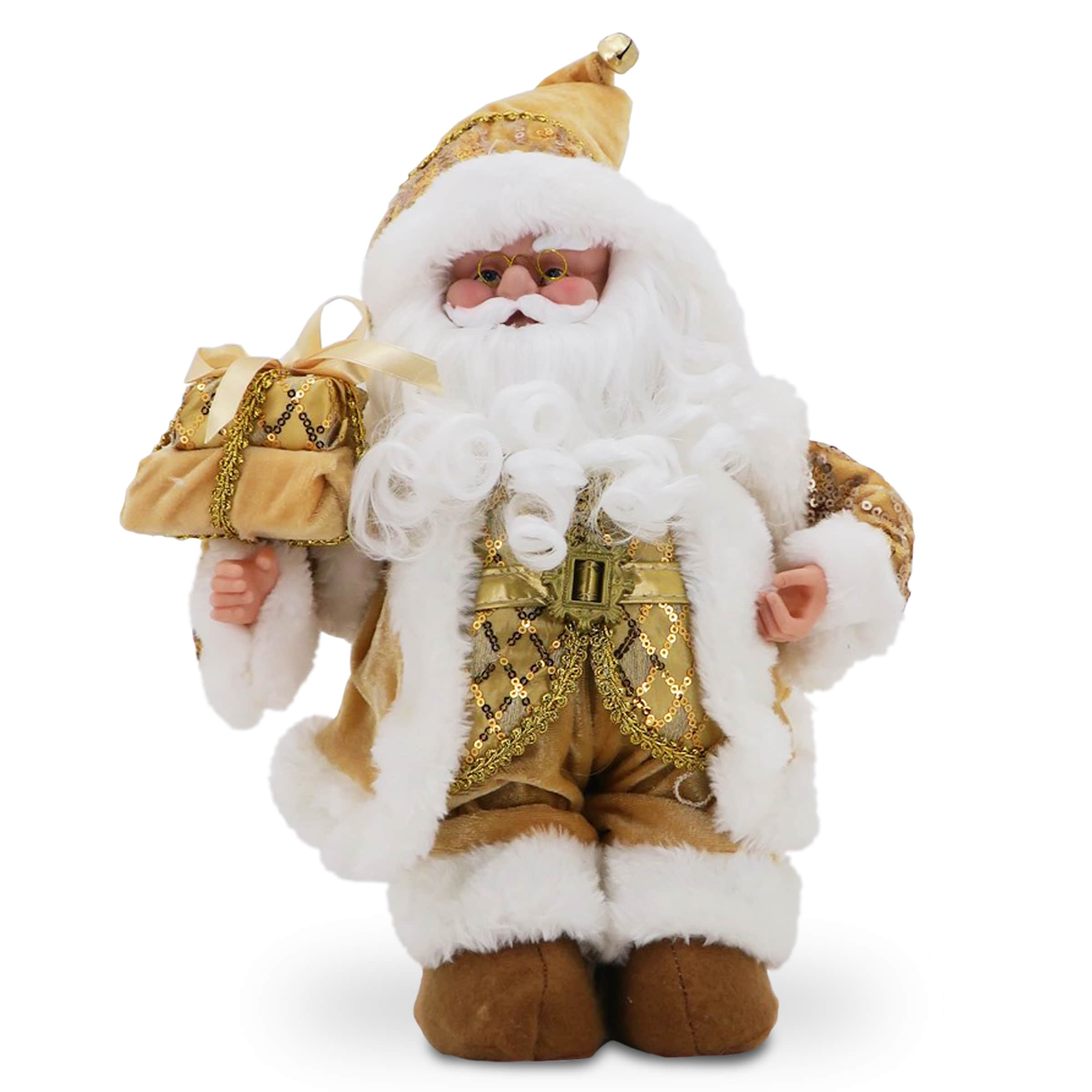 National Tree Glimmering Gold 14-inch Santa with Music (G...