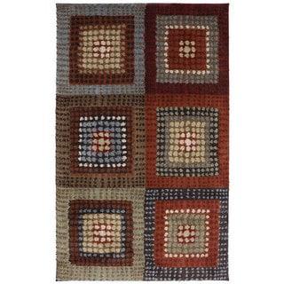 American Rug Craftsmen Shaggy Vibes Woodblock Hot Fudge Multicolor Olefin Rug (8' x 11')