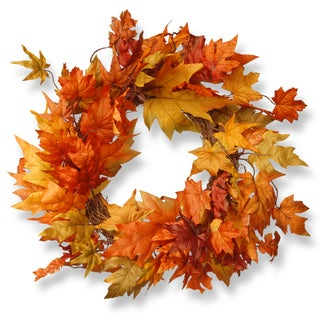 The Natural Company Harvest Accessories Orange Fabric 24-inch Wreath with Maples