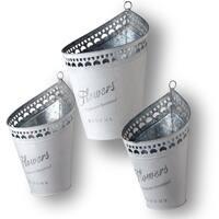 National Tree Company Silver Tin Pots (Set of 3)