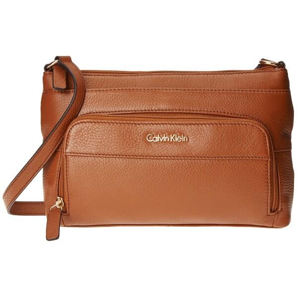 6679308b2163 Shop Calvin Klein Pebble Luggage Brown Crossbody Handbag - Free ...