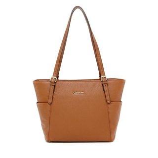Calvin Klein Women's Pebble Brown Leather Tote Handbag