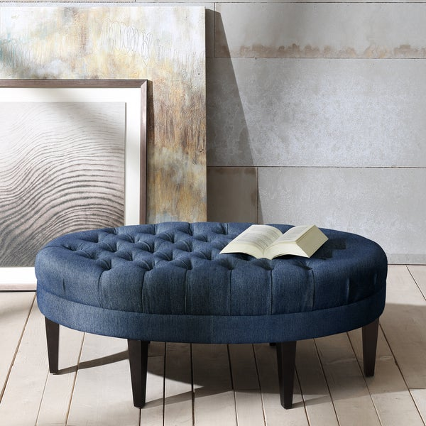 Sectional Sofas Kijiji London: Shop Madison Park Chase Blue Surfboard Tufted Ottoman