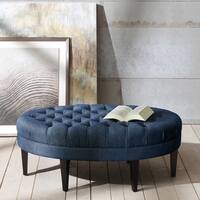 Madison Park Chase Blue Surfboard Tufted Ottoman