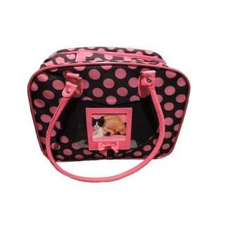 L C Puppy Ro Pink/Black Nylon Polka Dot Pattern Pet Carrier