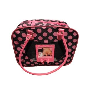 L C Puppy Ro Pink/Black Nylon Polka Dot Pattern Pet Carrier
