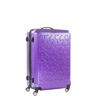Ful Hearts 21-inch Hard Case, Upright, Purple Spinner Rolling Luggage Suitcase