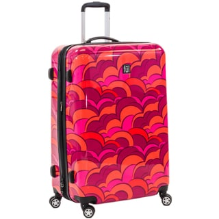 Ful Sunset 28-inch Upright Hard Case, Expandable, Orange Spinner Rolling Luggage Suitcase