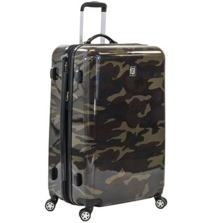 Ful Ridgeline 28-inch Upright Hard Case, Expandable, Camo Spinner Rolling Luggage Suitcase