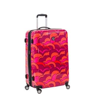 Ful Sunset 24-inch Upright Hard Case, Orange Spinner Rolling Luggage Suitcase