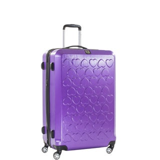 Ful Hearts 25-inch Hard Case, Upright, Purple Spinner Rolling Luggage Suitcase