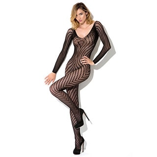 Hauty Black Nylon Long-sleeve Geo-pattern Knit Body Stocking