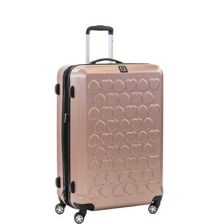 Ful Hearts 25-inch Hard Case, Upright, Gold Spinner Rolling Luggage Suitcase