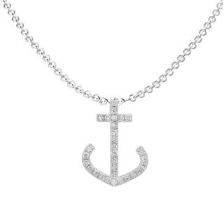 14k White Gold 1/10ct TDW Round White Diamond Anchor Pendant