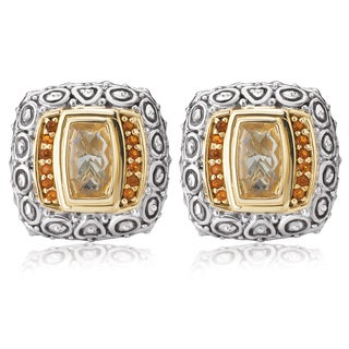 Avanti Sterling Silver and 14K Yellow Gold 4 CT TGW Yellow Quartz and Citrine Omega Button Earrings