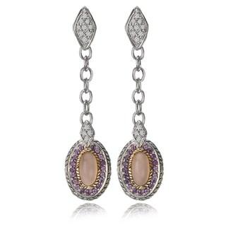 Avanti Palladium Silver and 18K Yellow Gold Diamond, Pink Onyx and Amethyst Dangle Earrings